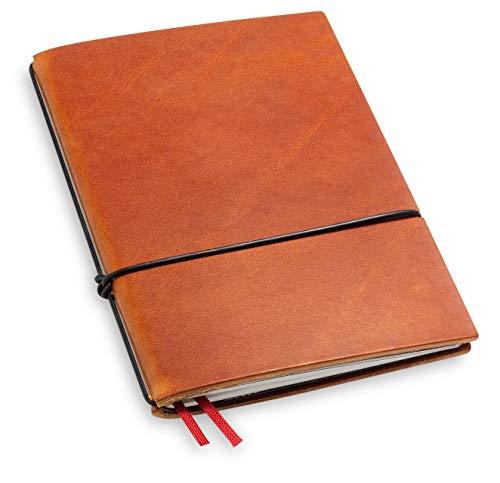 A6, revolutionär und 9 mm dünn! X17-Notizbuch! Leder, braun, brandy, Innen: Notizheft (blanko) + Doppeltasche + Lesezeichen; austauschbar=nachhaltig! Made in Germany, 17 Jahre Garantie*