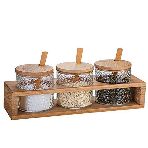 YYQQ Juego De 3 Botellas De Condimentos De, Caja De Condimentos, Frascos De Especias con Tapas De Bambú Y Cucharas, Caja De Condimentos De Vidrio para Mesa