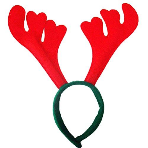 Frcolor Cerchietto Natale Corna Da Renna Cerchietti Con Orecchie Cerchietti Per Capelli Bambina Adulti (Antlers Rosso) 6 Pezzi