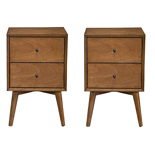 Alpine Furniture Flynn Mid Century Modern 2 Drawer Nightstand, Acorn (2 Pack)