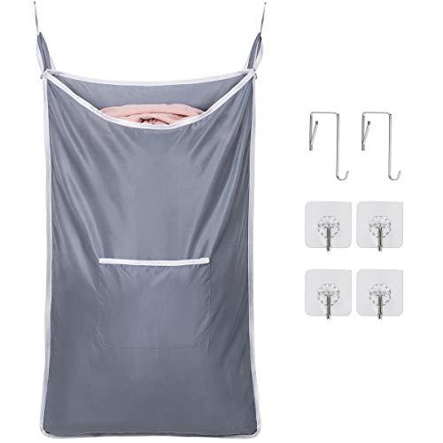 Amazonブランド] Umi.(ウミ) ランドリーバッグ セット バッグ 折り畳み式 巾着袋 ランドリーバスケット 洗濯物入れ 収納ポーチ(深灰とグレー2パック)