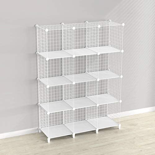 SIMPDIY Storage Rack with Metal Wire Mesh 12 Cubes Bookshelf 37x125x49INCH Large Capacity White Simple Storage Shelves