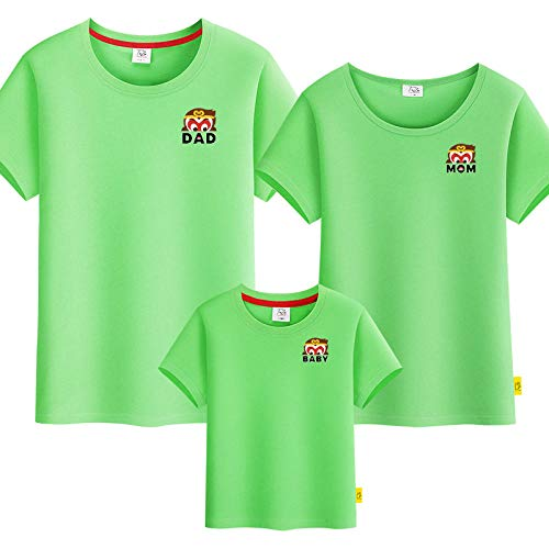 SANDA T-Shirt Niña,Camiseta para Padres y niños, un jardín de Infantes de Manga Corta de Tres o Cuatro Grandes tamaños.-Verde_Niños 90