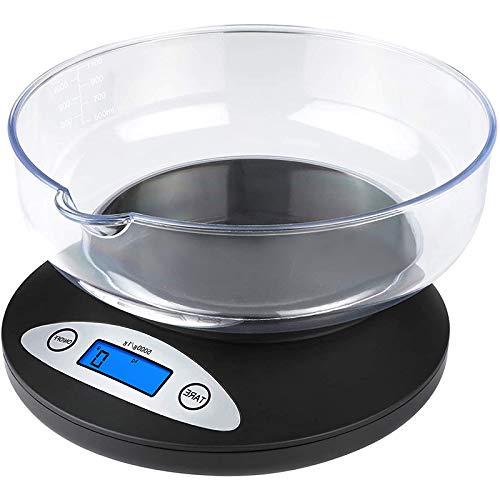 Báscula digital de cocina para alimentos, báscula electrónica de cocina de 5 kg con pantalla LCD retroiluminada y cuenco desmontable, modo y funciones de tara