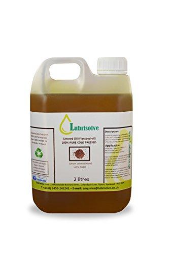 Lubrisolve Online Huile de Lin 100% Pure, Huile de Lin pressée à Froid 2 litres