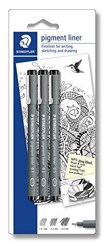 STAEDTLER penne Pigment Liner, inchiostro nero, punta in metallo, larghezza di tratto 0.1, 0.3 e 0.5 mm, set da 3 penne con punte diverse, 308S-9BK3D, 3 Pezzi