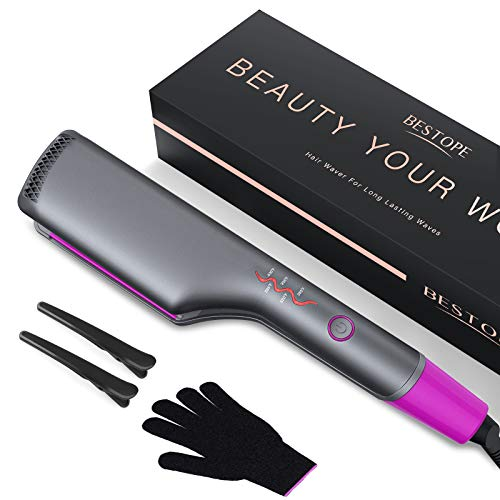 BESTOPE Hair Waver Curling Iron, 3/5 Inch Curling Wand 3 Barrel Hair Crimper with 5 LED Heat Control & Cooling Touch Plate for Professional Beach Waves, Include Glove & Hair Clips