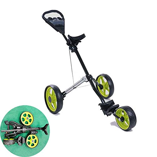 FXQIN Golf Cart, Lightweight Foldable Golf Trolley 3 Wheel Golf Push Cart with Drink Holder Seat, One Second to Open and Close Folding Cart, Collapsible Cart