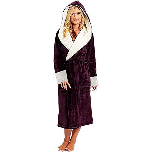 Fleece Bademantel Frauen-Winter-thermische Lange Bademantel Lovers Dicke warme Coral Fleece Kimono Bademantel Plus Size Nightgowns Bridesmaid Dressing (Color : Wine Red Robe, Size : XXL)
