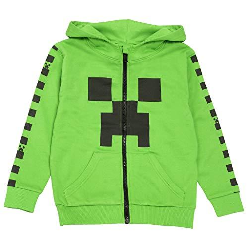 Popgear Minecraft Creeper Checkerboard Stripe Girls Zipped Hoodie Green Felpa con Cappuccio, Verde, 7-8 Anni Bambina