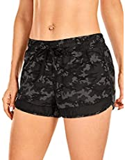 CRZ YOGA Women's Quick Dry Workout Running Shorts Loose Drawstring Athletic Gym Shorts with Zip Pocket -3 Inches
