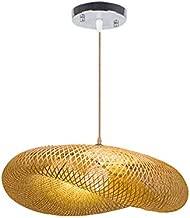 Hlidpu Bamboo Weave Pendant Lamp Nordic Designer Creative Rattan Lampshade Bird Nest Pendant Lamp for Bar Cafe Bamboo Weaving Lights E27, 60cm
