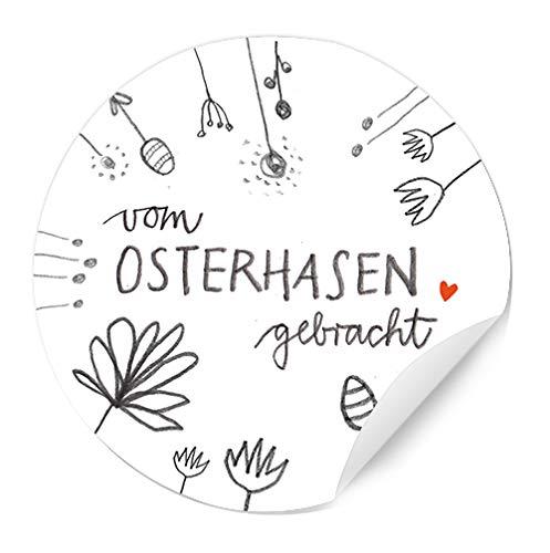 Ostersticker vom Osterhase gebracht - 24 selbstklebende Aufkleber mit Blumen im DIY Bleistift Design, Weiß Grau Rot, zum Ostergrüße Verzieren
