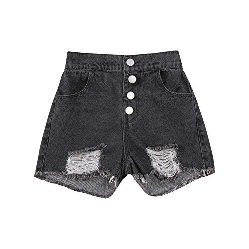 Fullvigor Toddler Baby Boys Girls Denim Shorts Elastic High Waist Buttons Ripped Short Jeans Summer Casual Outfit (Black, 3-4T)