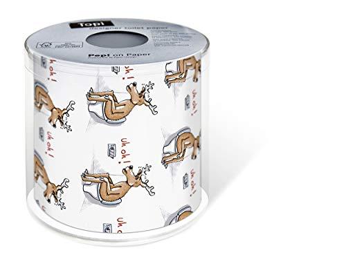 Toilettenpapier Rolle bedruckt Rentier beim Geschäft als lustiges Geschenk für Weihnachten