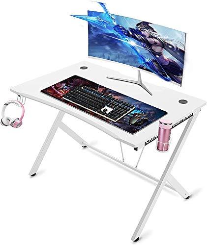 """YUYANDE Scrivania da Gioco Contemporaneo, scrivania da scrivania da 45""""da 45"""" con portabicchieri e Gancio per Cuffie Adatto per Gamer Workstation Gaming Table-45 Pollici (Color : White)"""