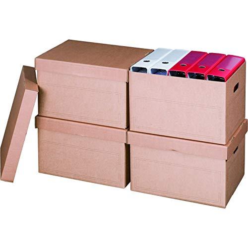 KK Verpackungen® Archivboxen | 10 Stück, Archivschachteln mit Stülpdeckel für bis zu 5 Ordner | Archivkartons mit Beschriftungsfeldern in Braun