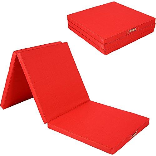 Ejercicio Yoga gimnasia alfombrilla, 6ft grande plegable ejercicio mat 5cm de grosor estiramiento Yoga Mat con cosido asas para gimnasio Crash secadora pista Yoga Pilates, rojo
