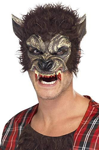 SMIFFYS Smiffy's - Maschera da lupo mannaro, con pelo e denti finti, colore marrone