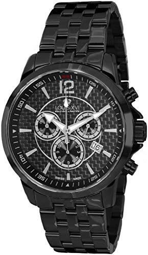 LOUIS XVI Herren-Armbanduhr Athos Stahlband Schwarz Karbon Chronograph Analog Quarz Edelstahl 802