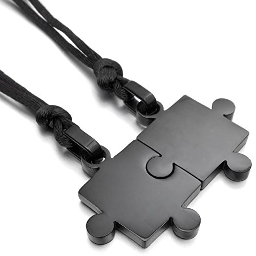 MunkiMix 2 PCS Acciaio Inossidabile Pendente Ciondolo Collana Nero Jigsaw Puzzle Amore San Paar Lui & Lei Set Regolabile 20~22 Pollici Catena Catenina Uomo,Donna