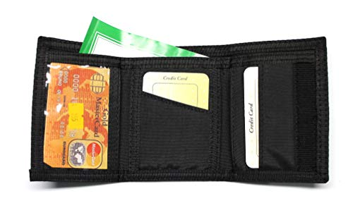 Nylon Trifold Credit Card Wallet - Black