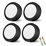 HOLKPOILOT Puck Lights with Remote Control, LED Under Cabinet Lights,Under Counter Light Battery Operated, Closet Light Dimmable,Wireless Under Cabinet Lighting, Stick On Lights(4PACK)