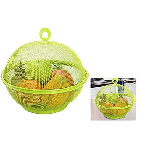 sanguiner Obstkorb aus Kunststoff Obstkorb mit Deckel Küchenablagekorb mit Deckel Esstisch Dekoration Aufbewahrungsbox Obstteller Abwaschkorb Pflaume Rot Grasgrün