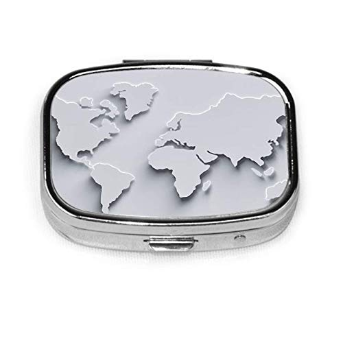 World Map D in White Colors with Shadows and Glowing Edges G Mens Pocket Pill Box Pill Box Tablet Holder Wallet Organizer Case for Pocket Or Purse