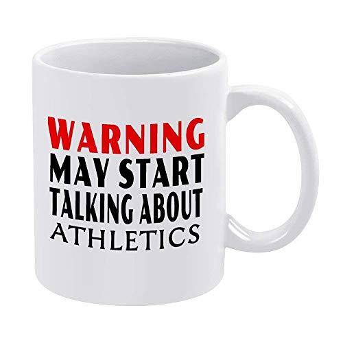 N\A Tazas de café Blanco de 11 oz, Advertencia Que Puede Comenzar a Hablar sobre Atletismo Taza de Chocolate de cerámica para Mujer, Jefe, Amigo, Empleado o cónyuge