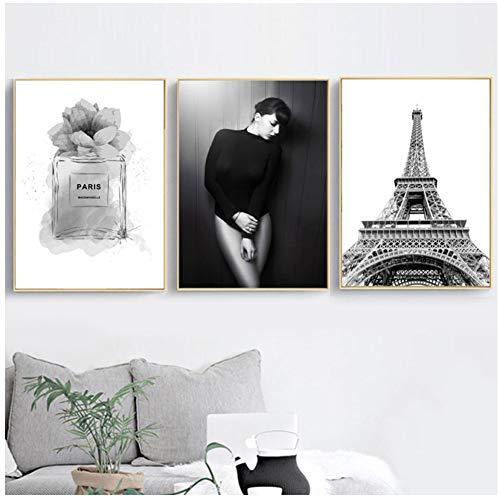 xiongda Hd Print Sexy Mädchen Bild Parfüm Leinwand Schmetterling Malerei Paris Tower Poster Nordic Home Decor Wandkunst für Schlafzimmer-20X28 Zoll 3Pcs No Frame