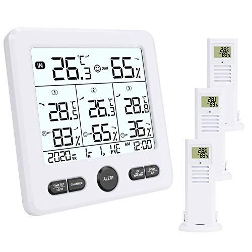 Aceshop Termometro Igrometro Digitale per Interno Esterno, Misuratore di Temperatura e umidità con 3 Sensori Remoti, Stazione Meteo Wireless con Retroilluminazione,Icona Comfort,Indicatore di Tendenza