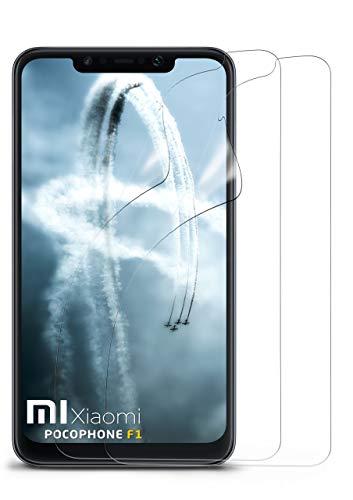 moex Klare Schutzfolie kompatibel mit Xiaomi Pocophone F1 - Displayfolie kristallklar, HD Displayschutz, dünne Kratzfeste Folie, 2X Stück