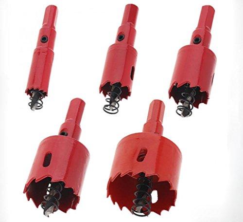 HYCy 5Pcs 15/20/25/30/40Mm M42 Bi-Métal Trou Saw Forage Trou Cut Outil avec Sawtooth Et Printemps pour PVC Plaque/Bois