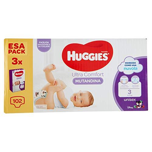 Huggies Ultra Comfort - Pañal braguita de 3/6-11 kg, paquete de 102 pañales