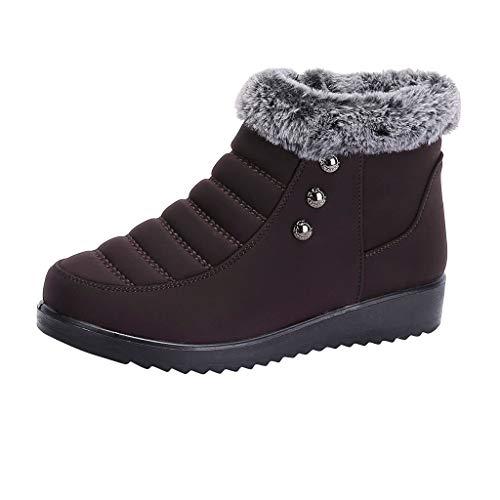 Yowablo Stiefel Damen Kurzschaft Kalt gefüttert Classics Halbschaft Stiefeletten Plus samt Dicke warme Mutter Schuhe hoch, um Baumwollstiefel Stiefel Schneeschuhe zu helfen (36 EU,Braun)