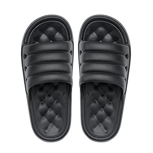 NUGKPRT chanclas,Zapatillas de verano Moda para hombre Color sólido Zapatos casuales casuales Eva Calzado antideslizante Toboganes de playa Moda 45 Negro