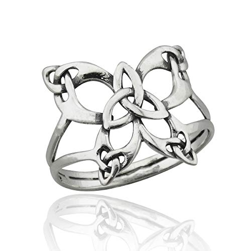 FashionJunkie4Life Sterling Silver Celtic Knot Butterfly Ring, Sizes 6-10 Triquetra Trinity Knot (9)