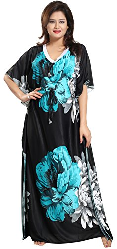 Noty Women's Sarina Floral Maxi Night Gown (B-13_Green & Black_Free...