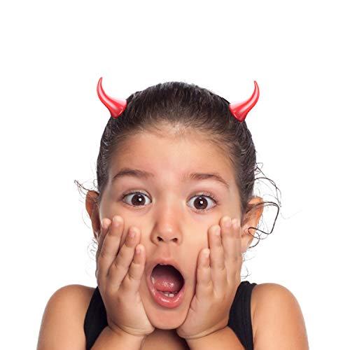 Horquilla de cuerno de diablo de halloween Rojo Horquilla Diablo Cuernos Pinzas para El Pelo de Cuerno de Diablo de plástico para niños actuación en el escenario para mascarada juego de rol fiesta