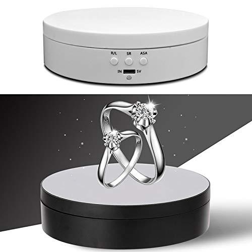 JSANSUI Fotografie Hintergrund Kit 13.8cm USB-Lade Smart-360-Grad-drehende Drehscheibe-Ausstellungsstand Video Shooting Props Plattenspieler, for Fotografie, Last 3kg (Color : White)