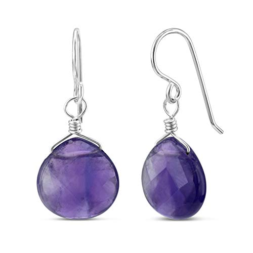 FRONAY Natural Amethyst Sterling Silver Drop Dangle Hook Earrings - Made in USA (amethyst)