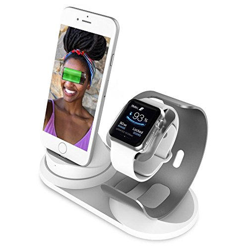 Apple Watch Stand with Night Stand for Apple Watch Series 42mm 38mm Aluminum 2 in 1 Cell Phone Stand...