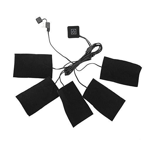 Almohadilla de calefacción para ropa, almohadilla eléctrica USB con calefacción, cinco almohadillas calefactoras, elemento de calefacción ajustable, herramienta para aliviar el dolor, hogar cálido