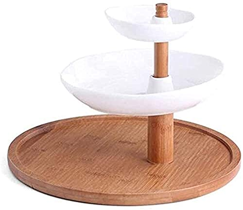 jiaju Bandeja de Frutas Cuencos de Frutas de 3 Capas de 3 Capas de cerámica de Madera Maciza de cerámica, cestas de Frutas Vegetales para el Almacenamiento Decorativo de la encimera de la Cocina