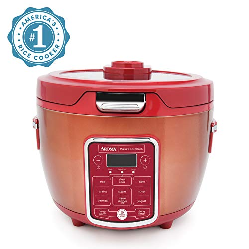 Aroma Professional ARC-1230R Cool Touch Glass Lid, Food Steamer, Slow Cooker, Multicooker with 11 Preset Functions, Steam Tray, Measuring Cup, Rice Spatula, 20 Cooked, Red