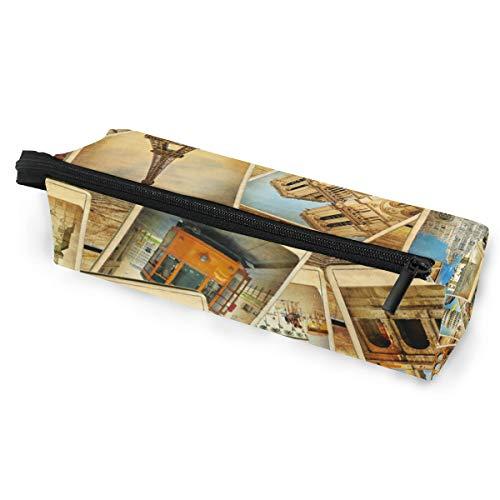 Paris-Symbol-Karten-Brillen-Kasten-weicher Kasten-Reißverschluss-Sonnenbrille-Halter-Federbeutel-Schutzbeutel-Bleistift-Kosmetik-Beutel-Lagerung