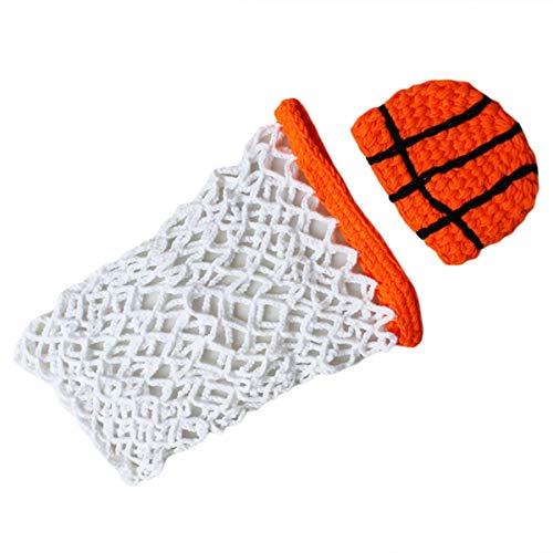 puseky pasgeboren baby fotografie rekwisieten basketbal fotografie outfits haak oranje hoed+witte mand kostuum outfits