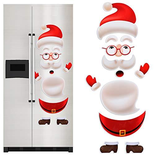 12 Pcs Santa Claus Refrigerator Magnets Stickers Set,Christmas Decorations, for Fridge, Metal Door, Holiday Christmas Decoration