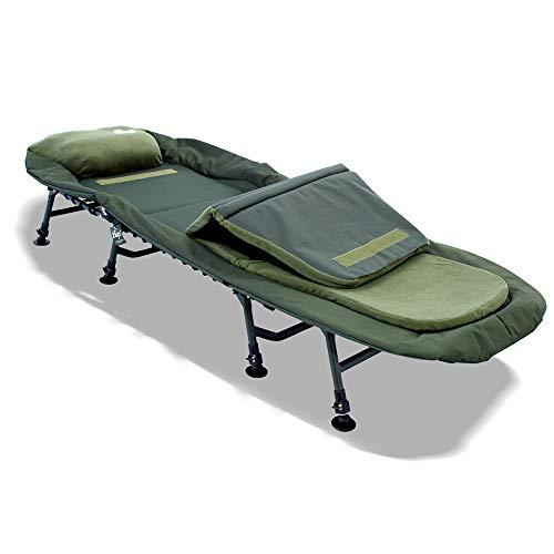 Lucx® Master Bedchair Angelliege Karpfenliege 8 Beine Liege mit Matratze Gartenliege Campingliege Maße (L/B/H): 210 x 85 x 38 cm
